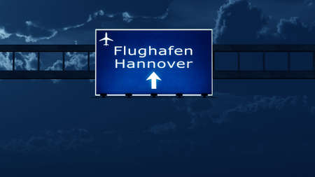 night road: Hannover Germany Airport Highway Road Sign at Night 3D Illustration