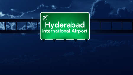 hyderabad: Hyderabad India Airport Highway Road Sign at Night 3D Illustration