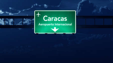 road night: Caracas Venezuela Airport Highway Road Sign at Night 3D Illustration