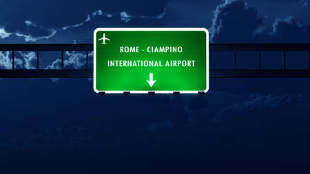 roma: Roma Ciampino Italy Airport Highway Road Sign at Night 3D Illustration
