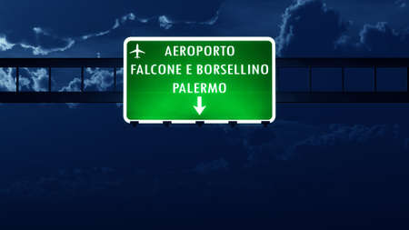 highway night: Palermo Italy Airport Highway Road Sign at Night 3D Illustration