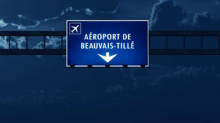 highway at night: Beauvais Airport Highway Road Sign at Night 3D Illustration