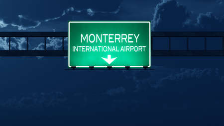 nightfall: Monterrey Mexico Airport Highway Road Sign at Night 3D Illustration
