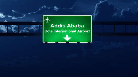nightfall: Addis Ababa Ethiopia Airport Highway Road Sign at Night 3D Illustration