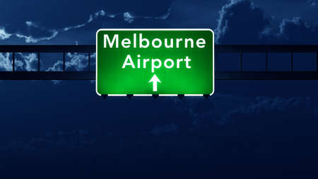 road night: Melbourne Australia Airport Highway Road Sign 3D Illustration at Night