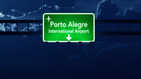 Porto Alegre Brazil Airport Highway Road Sign 3D Illustration at Night