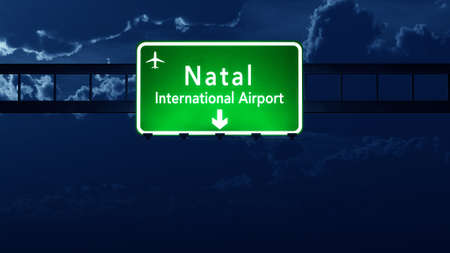 natal: Natal Brazil Airport Highway Road Sign 3D Illustration at Night Stock Photo