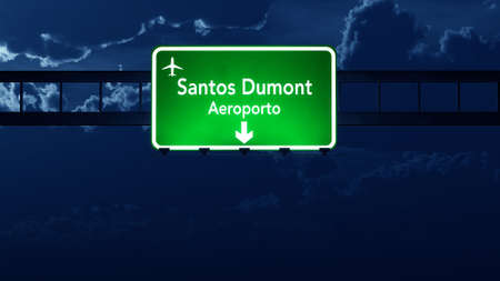 gloom: Rio De Janeiro Dumont Brazil Airport Highway Road Sign 3D Illustration at Night Stock Photo