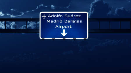 highway at night: Madrid Spain Airport Highway Road Sign at Night 3D Illustration Stock Photo