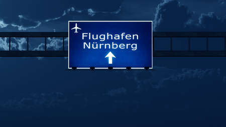 gloom: Nurnberg Germany Airport Highway Road Sign at Night 3D Illustration