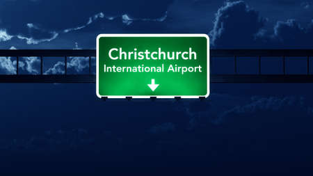 nightfall: Christchurch Airport Highway Road Sign at Night 3D Illustration Stock Photo