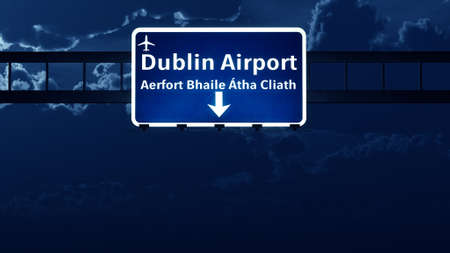 irish cities: Dublin Ireland UK Airport Highway Road Sign at Night 3D Illustration