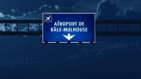 nightfall: Euro Airport France Germany Switzerland Highway Road Sign at Night 3D Illustration