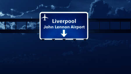 liverpool: Liverpool England UK Airport Highway Road Sign at Night 3D Illustration