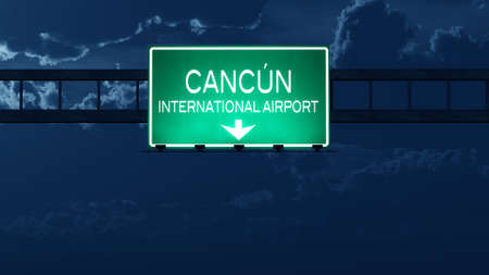 cancun: Mexico Airport Highway Road Sign at Night 3D Illustration