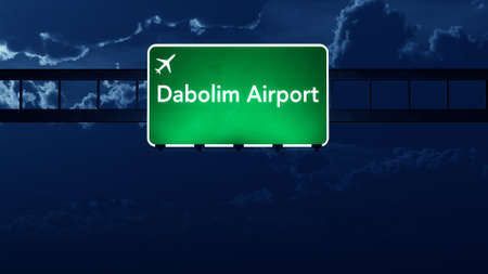 road night: Dabolim India Airport Highway Road Sign at Night 3D Illustration Stock Photo