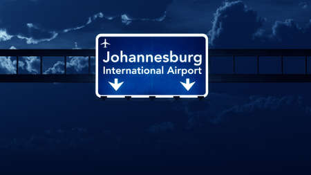 nightfall: Johannesburg South Africa Airport Highway Road Sign at Night 3D Illustration