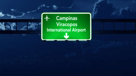 nightfall: Campinas Brazil Airport Highway Road Sign 3D Illustration at Night Stock Photo
