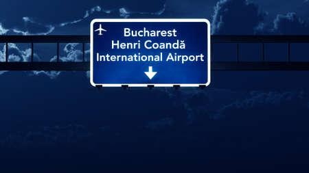 Bucharest Romania Airport Highway Road Sign at Night 3D Illustration Stock Illustration - 44948428