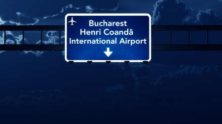 Bucharest Romania Airport Highway Road Sign at Night 3D Illustration