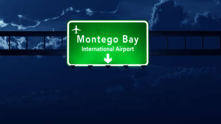 highway at night: Jamaica Airport Highway Road Sign at Night 3D Illustration Stock Photo