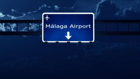 del: Malaga Costa Del Sol Spain Airport Highway Road Sign at Night 3D Illustration Stock Photo