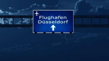nightfall: Dusseldorf Germany Airport Highway Road Sign at Night 3D Illustration