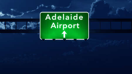 adelaide: Adelaide Australia Airport Highway Road Sign 3D Illustration at Night