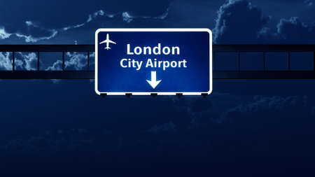 london night: London England UK Airport Highway Road Sign at Night 3D Illustration Stock Photo