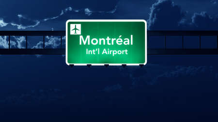 road night: Montreal Canada Airport Highway Road Sign at Night 3D Illustration Stock Photo