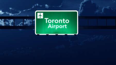 toronto: Toronto Canada Airport Highway Road Sign at Night3D Illustration