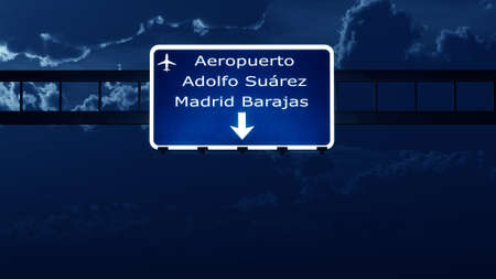 gloom: Madrid Spain Airport Highway Road Sign at Night 3D Illustration Stock Photo