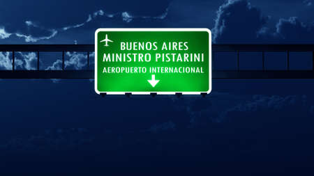 highway night: Buenos Aires Argentina Airport Highway Road Sign at Night 3D Illustration