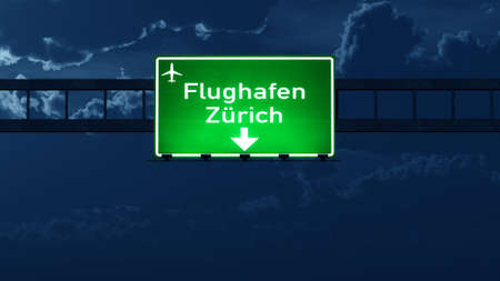 highway at night: Zurich Switzerland Airport Highway Road Sign at Night 3D Illustration