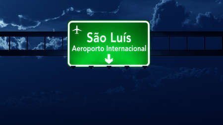 Sao Luis Brazil Airport Highway Road Sign 3D Illustration at Night