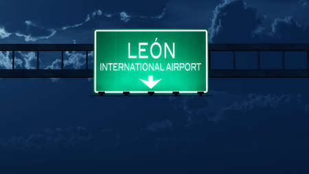 leon: Leon Mexico Airport Highway Road Sign at Night 3D Illustration