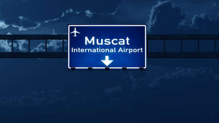 road night: Airport Highway Road Sign at Night 3D Illustration