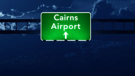 highway night: Cairns Australia Airport Highway Road Sign 3D Illustration at Night Stock Photo