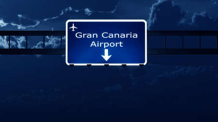highway night: Gran Canaria Spain Airport Highway Road Sign at Night 3D Illustration Stock Photo