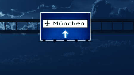 highway at night: Munich Germany Airport Highway Road Sign at Night 3D Illustration