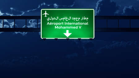 highway at night: Casablanca Morocco Airport Highway Road Sign at Night 3D Illustration