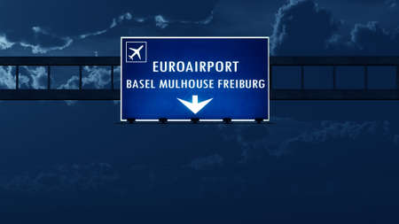nightfall: Euro Airport France Germany Switzerland Highway Road Sign at Night 3D Illustration