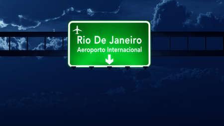 nightfall: Rio De Janeiro Brazil Airport Highway Road Sign 3D Illustration at Night