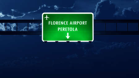 florence   italy: Florence Italy Airport Highway Road Sign at Night 3D Illustration