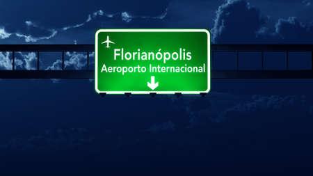 nightfall: Florianopolis Brazil Airport Highway Road Sign 3D Illustration at Night