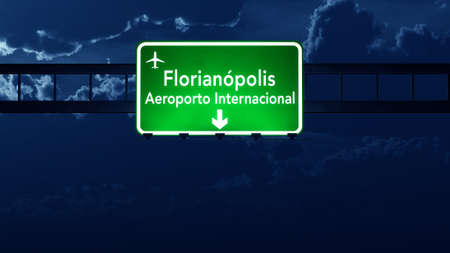 Florianopolis Brazil Airport Highway Road Sign 3D Illustration at Night