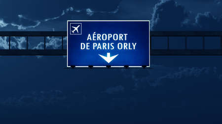 nightfall: Paris Orly France Airport Highway Road Sign at Night 3D Illustration Stock Photo