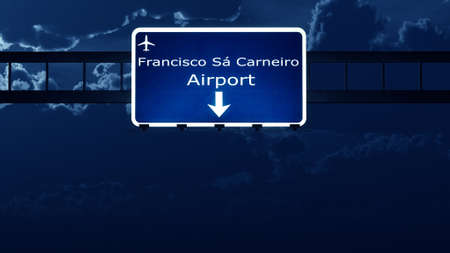 portugese: Porto Portugal Airport Highway Road Sign at Night 3D Illustration