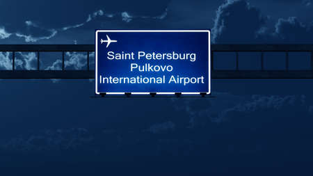 highway at night: Saint Petersburg Pulkovo Russia Airport Highway Road Sign at Night 3D Illustration