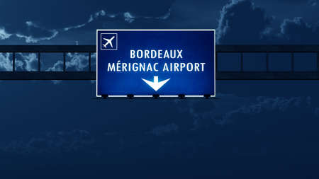 bordeaux: Bordeaux France Airport Highway Road Sign at Night 3D Illustration